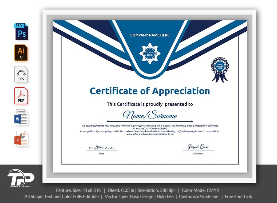 Printable Certificate of Appreciation Template | COA015