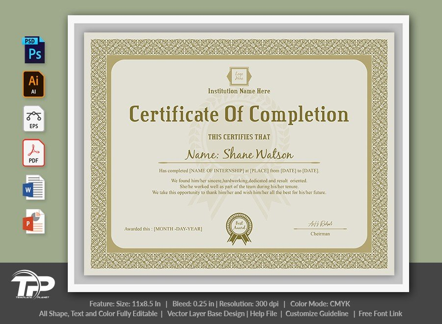 Certificate of Completion Template | COC001