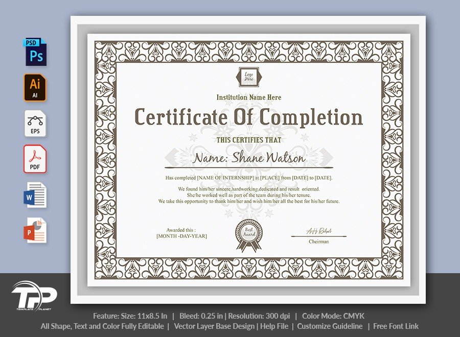 Certificate of Completion Template | COC006