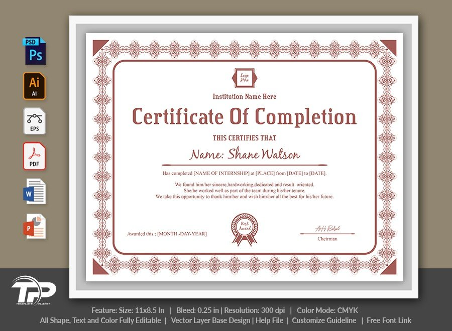 Certificate of Completion Template | COC008