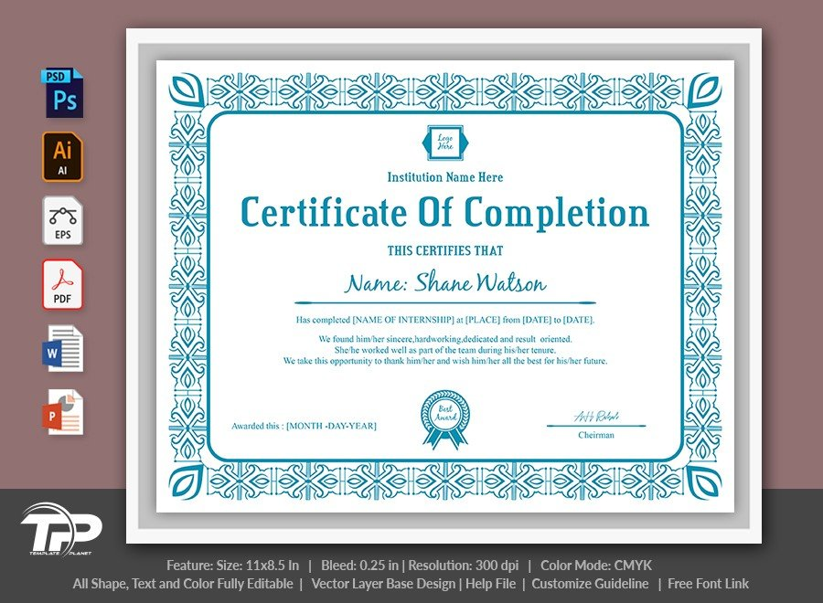 Certificate of Completion Template | COC009
