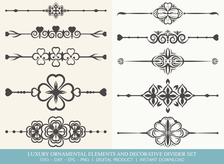 Luxury Ornament Divider Set SVG Cut Files | DDS0011