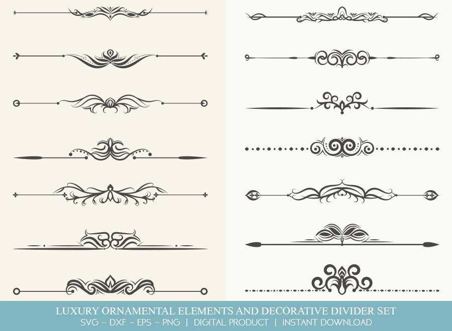 Luxury Ornament Divider Set SVG Cut Files | DDS0025