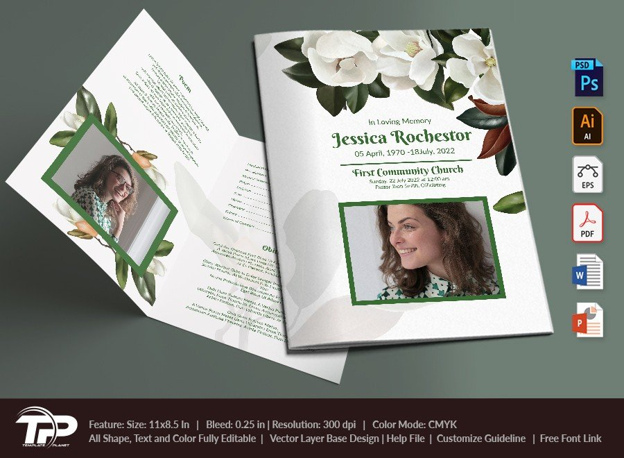 Funeral Program Template, Memorial Order of Service FPT014