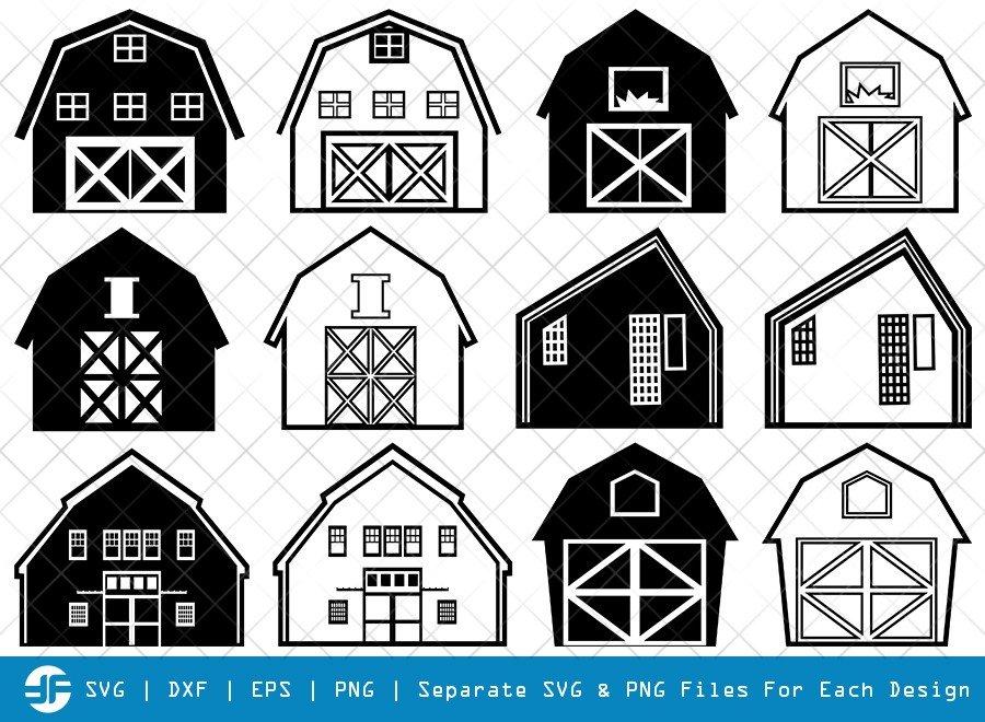 Barn House SVG Cut Files | Farm Barn Silhouette Bundle