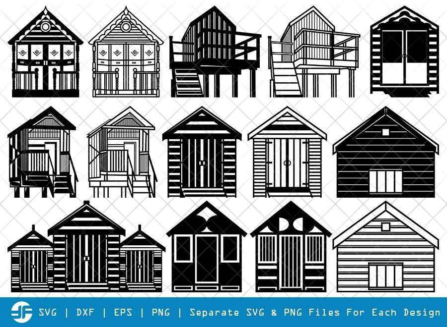 Beach Huts SVG Cut Files | Bamboo House Silhouette Bundle