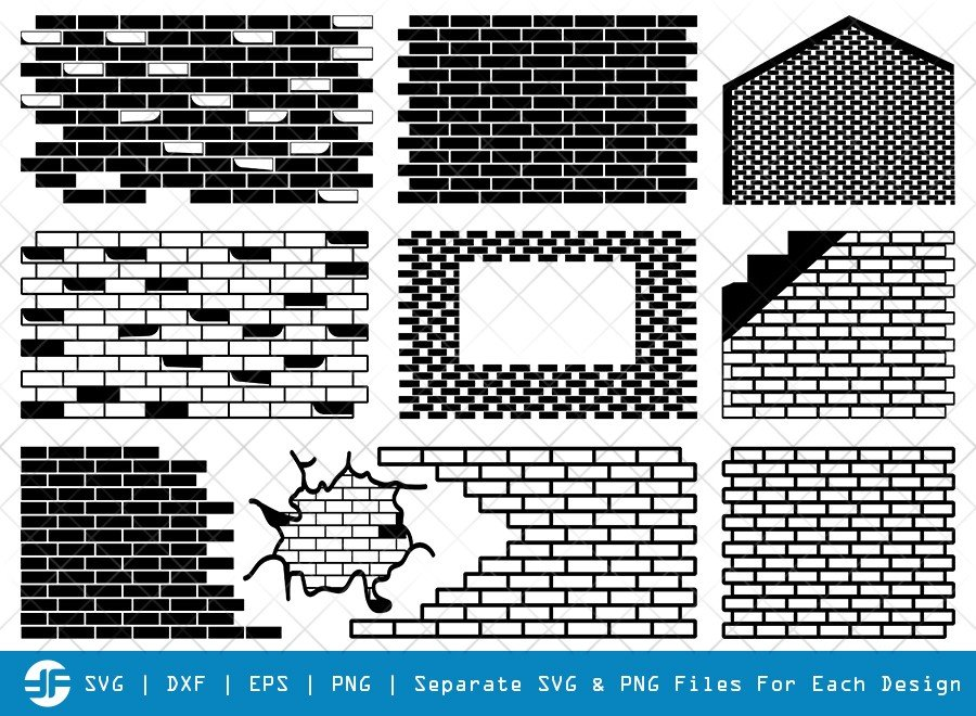 Brick Wall SVG Cut Files | Bricks Wall Silhouette Bundle