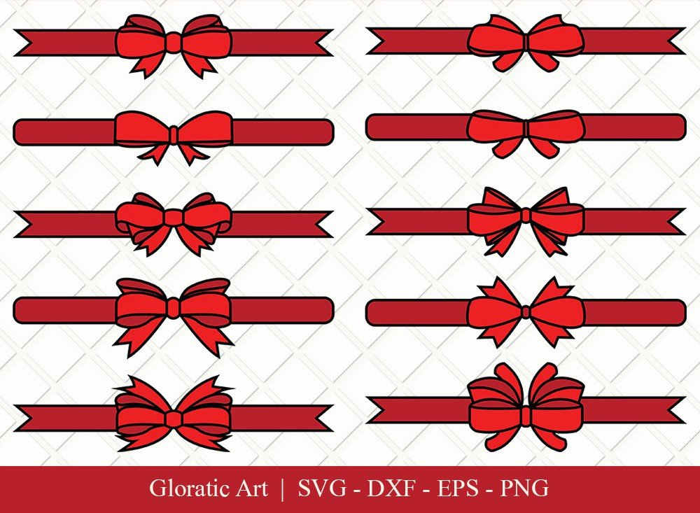 Bow and Ribbon Clipart SVG Cut Files | Bow Ribbon Svg