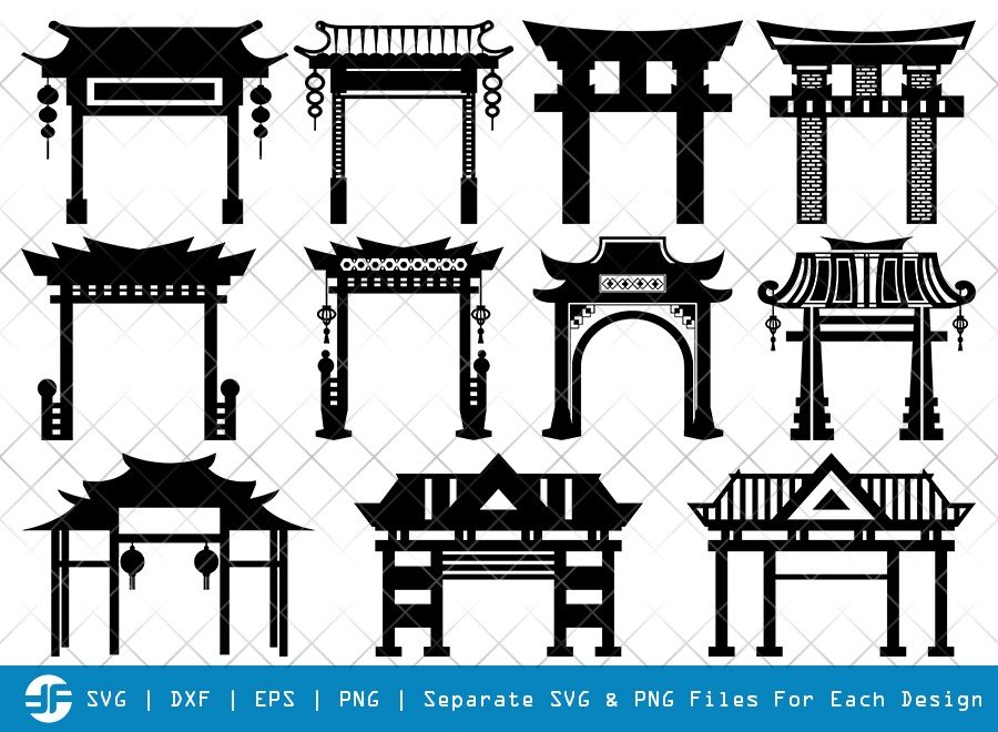 Chinese Gate SVG Cut Files | Torii Gate | Silhouette Bundle