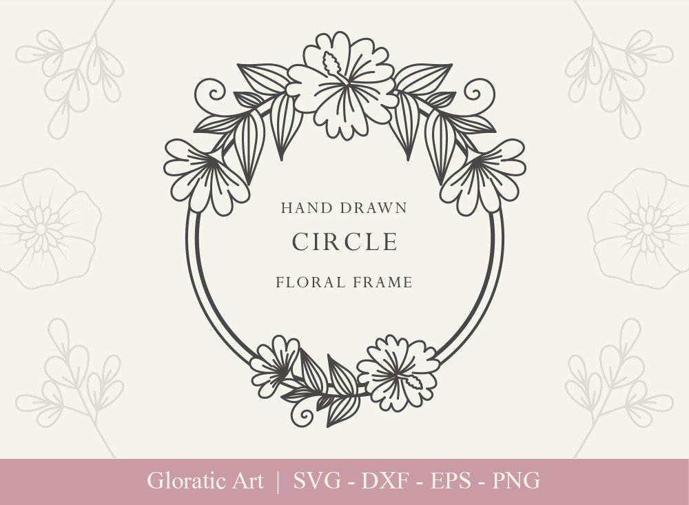 Circle Floral Frame SVG Cut Files | CFF0016