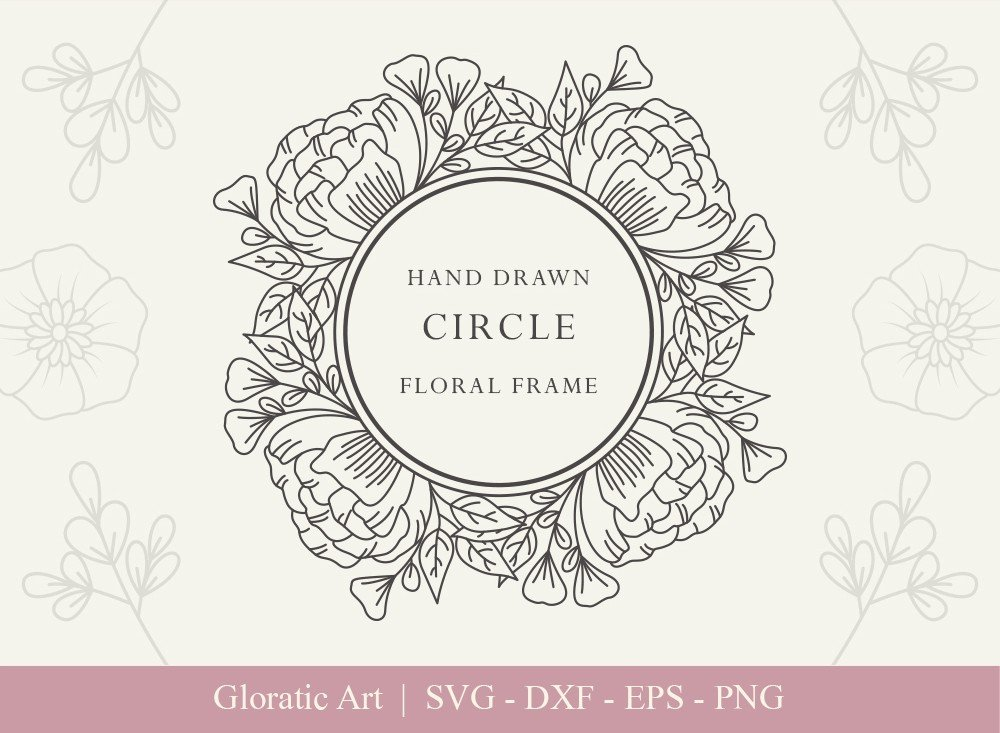 Circle Floral Frame SVG Cut Files | CFF005