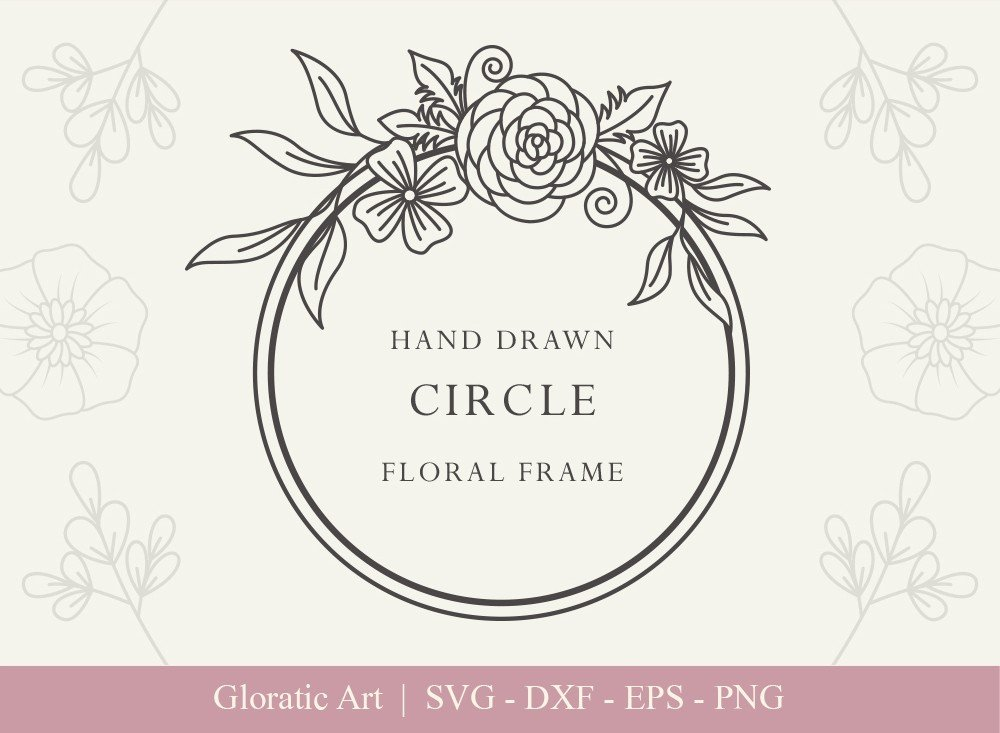 Circle Floral Frame SVG Cut Files | CFF007