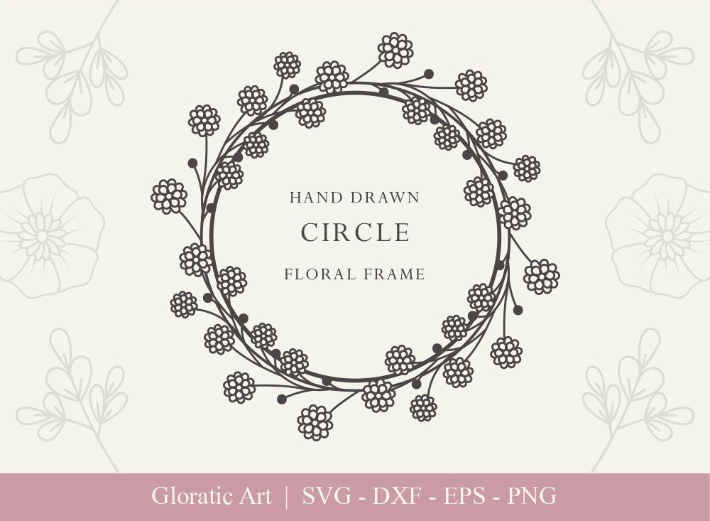 Circle Floral Frame SVG Cut Files | CFF0012