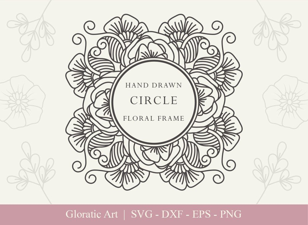 Circle Floral Frame SVG Cut Files | CFF0015