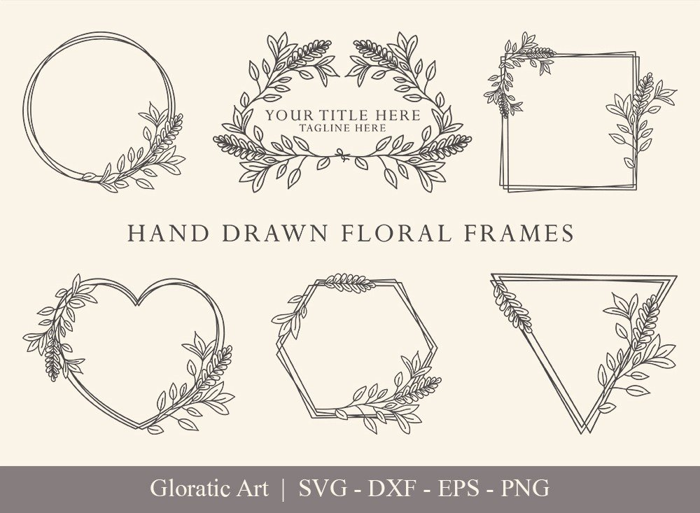 Floral Frame SVG Cut Files | Flower Wreath Bundle | FF002