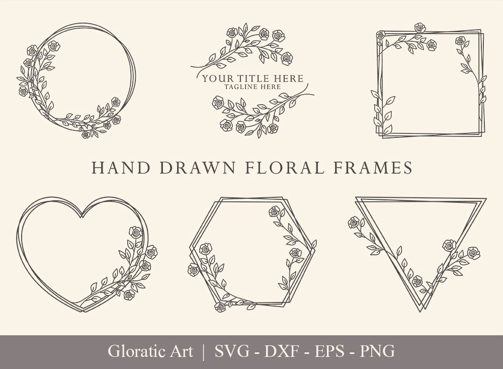 Floral Frame SVG Cut Files | Flower Wreath Bundle | FF004