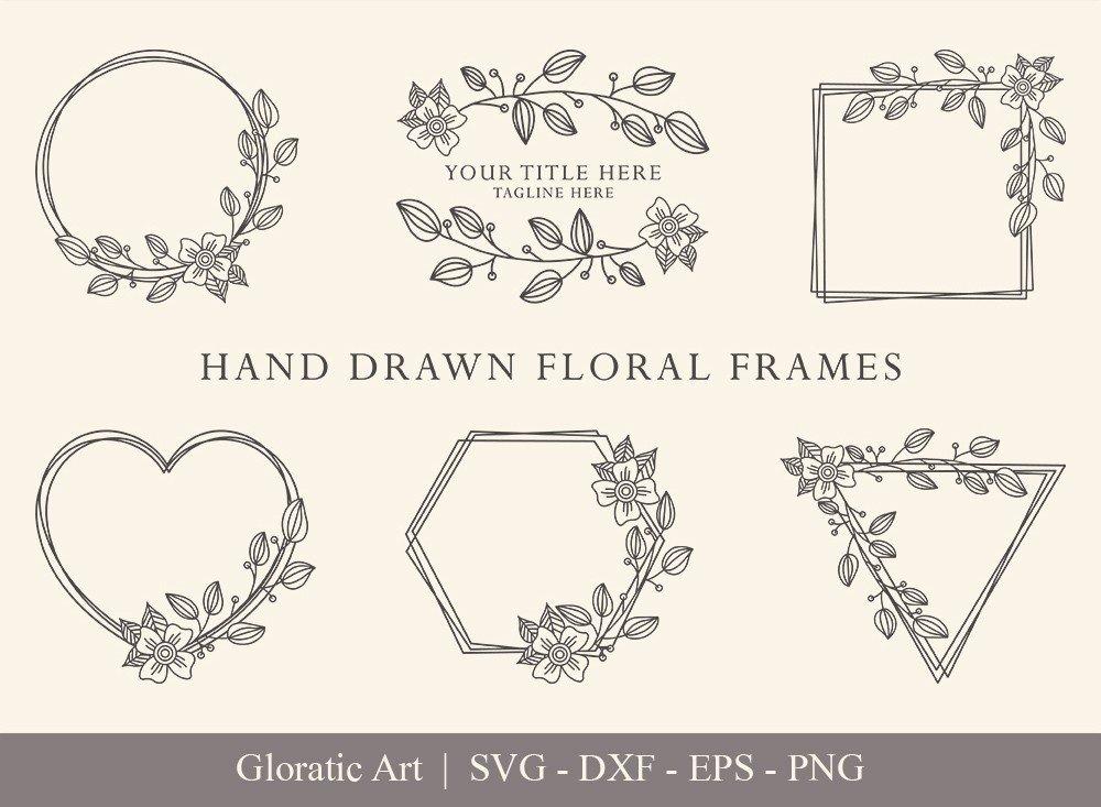 Floral Frame SVG Cut Files | Flower Wreath Bundle | FF007