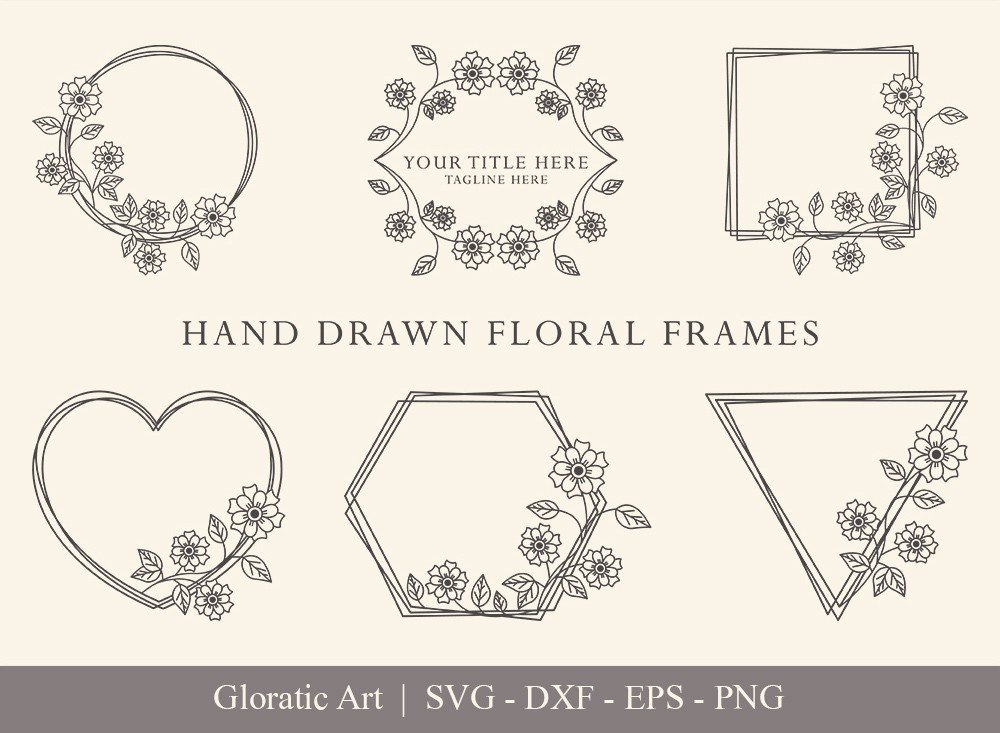 Floral Frame SVG Cut Files | Flower Wreath Bundle | FF0015