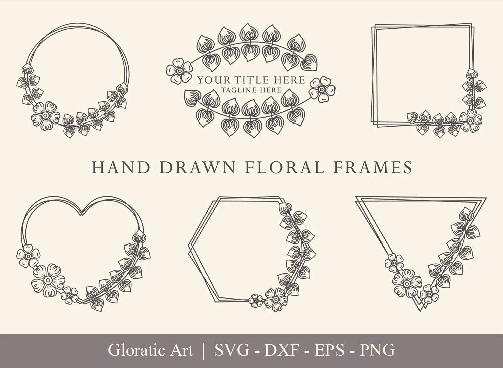 Floral Frame SVG Cut Files | Flower Wreath Bundle | FF0018