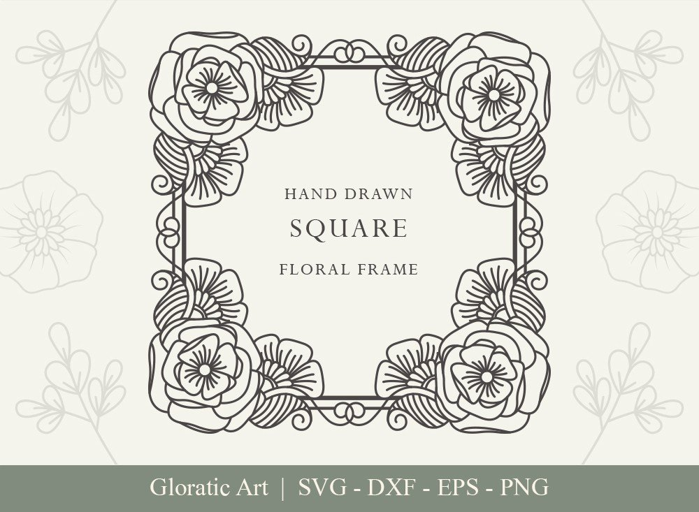 Square Floral Frame SVG Cut Files | SFF001