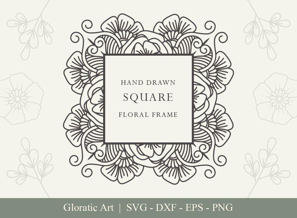 Square Floral Frame SVG Cut Files   SFF002