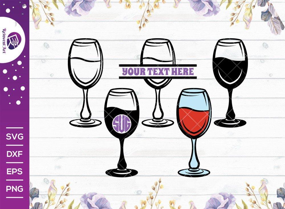 Wine Glass SVG Cut File | Split Monogram | Wine SVG |