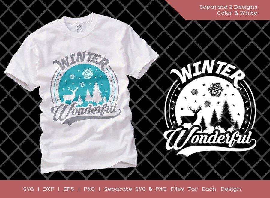 Winter Wonderful SVG Cut File | Christmas T-shirt Design