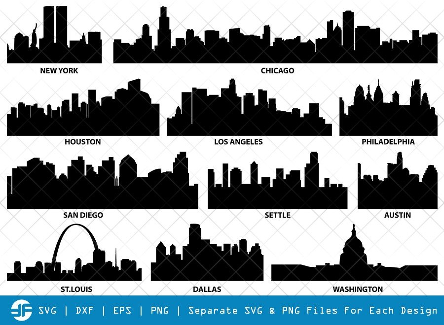 Cities Of USA SVG Cut Files | City SVG | Silhouette Bundle
