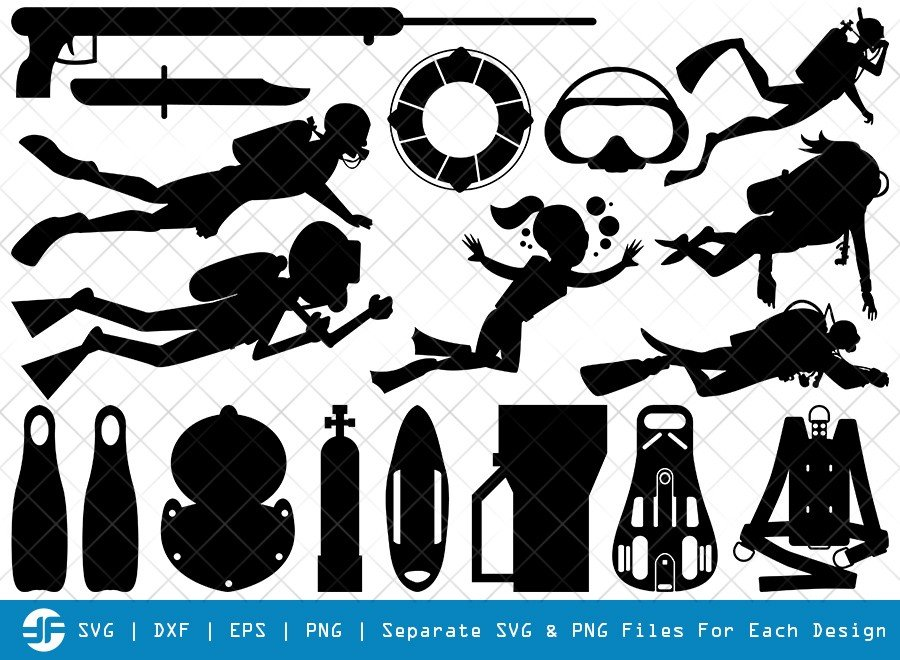 Divers SVG Cut Files | Scuba Diving SVG | Silhouette Bundle