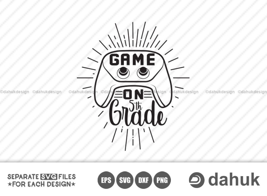 Game On 5th Grade SVG, Back to school, Kids gamer shirt