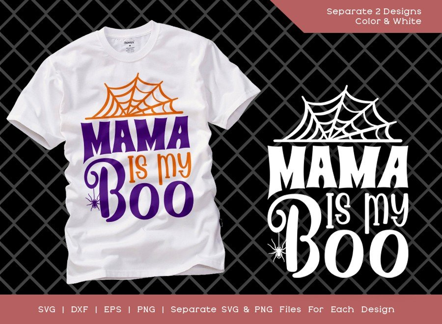 Mama Is My Boo SVG Cut File | Kids Halloween Svg | Cute Girl