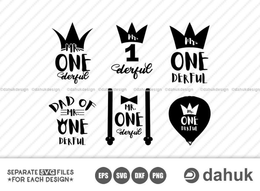 Mr. One Derful SVG Bundle, First Birthday, 1st Birthday svg, Birthday svg, Crown, Cut file, for silhouette, svg, eps, cricut design space