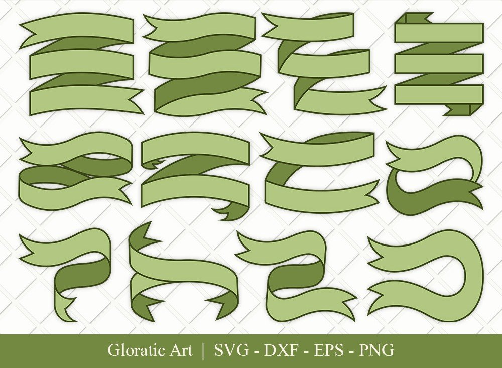 Text Ribbon Clipart SVG Cut Files | Text Banner Svg | TRC003