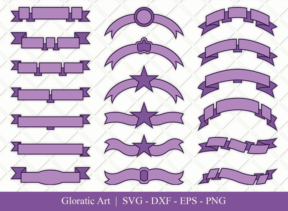 Text Ribbon Clipart SVG Cut Files | Text Banner Svg | TRC006