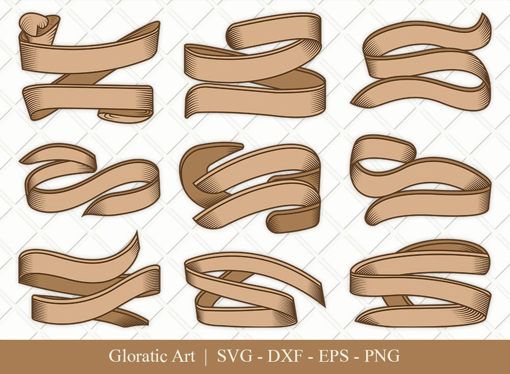 Text Ribbon Clipart SVG Cut Files | Text Banner Svg | TRC007