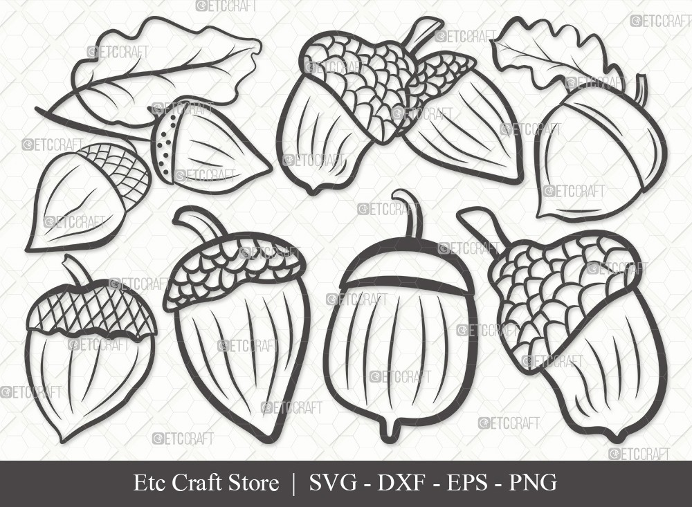 Acorn Outline SVG Cut File | Fall Svg
