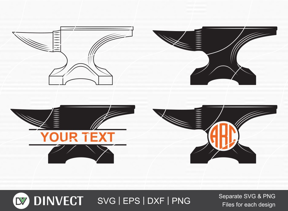 Anvil SVG, Anvil Split Silhouette, Anvil Monogram, Anvil Clipart