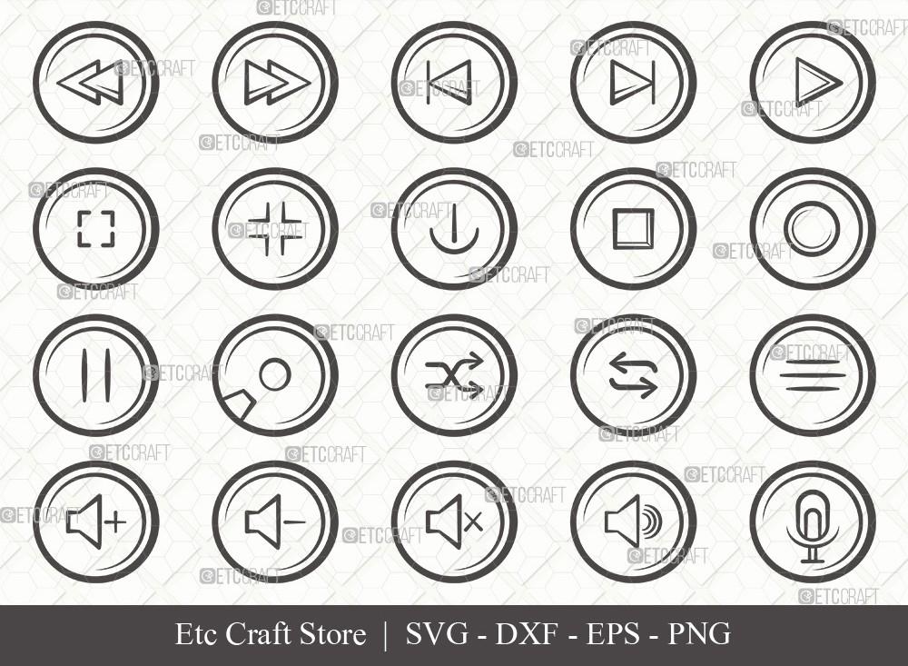 Audio Control Buttons Outline SVG Cut File