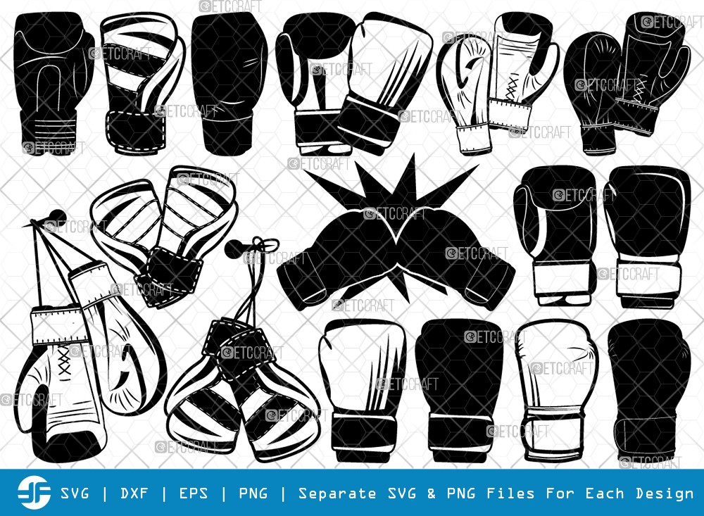 Boxing Gloves SVG Cut Files | Sport Gloves Silhouette