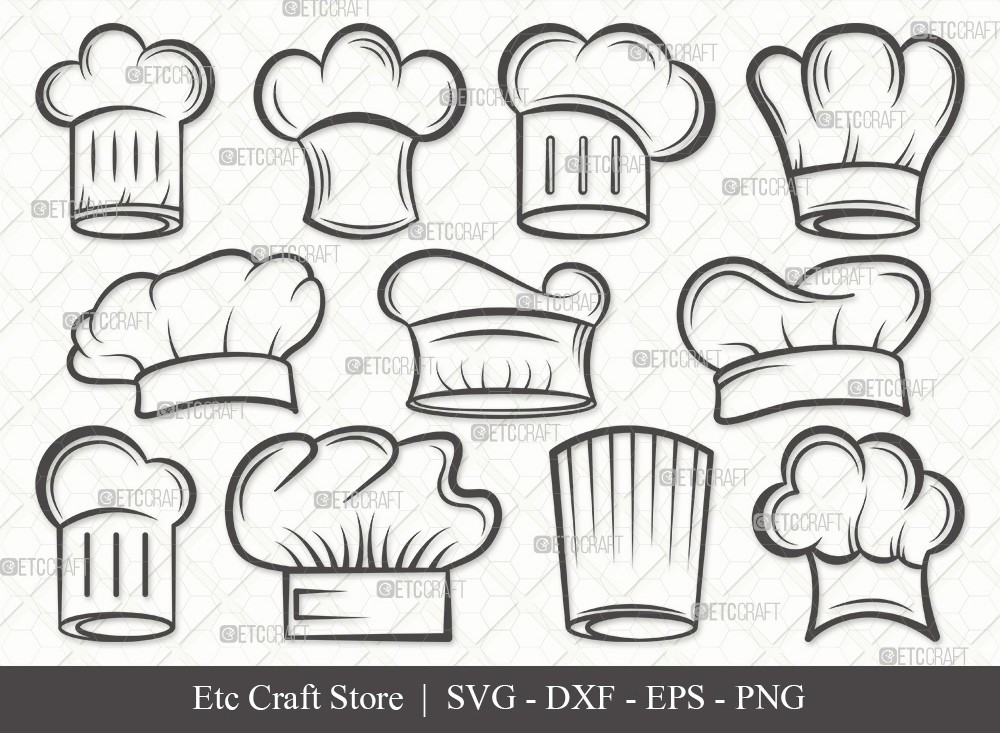 Chef Hat Outline SVG Cut File | Chef Svg