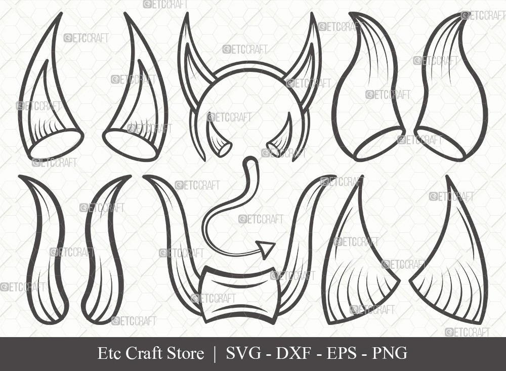 Devil Horns Outline SVG Cut File | Devil Tail SVG