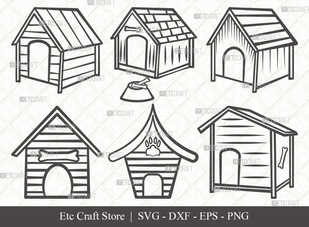 Dog House Outline SVG Cut File | Dog Svg