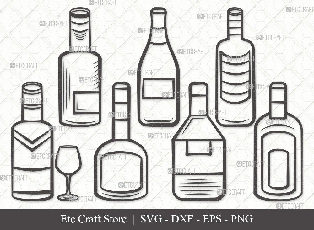 Drinks Bottle Outline SVG Cut File | Beer Bottle