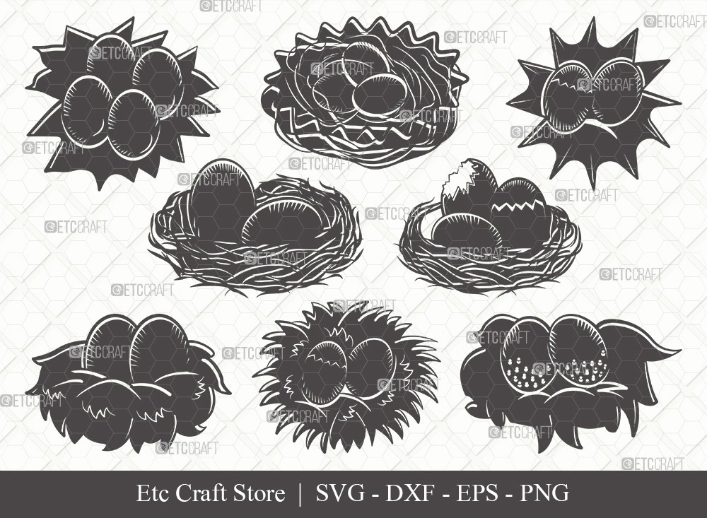 Eggs Nest Silhouette SVG Cut File | Egg Svg
