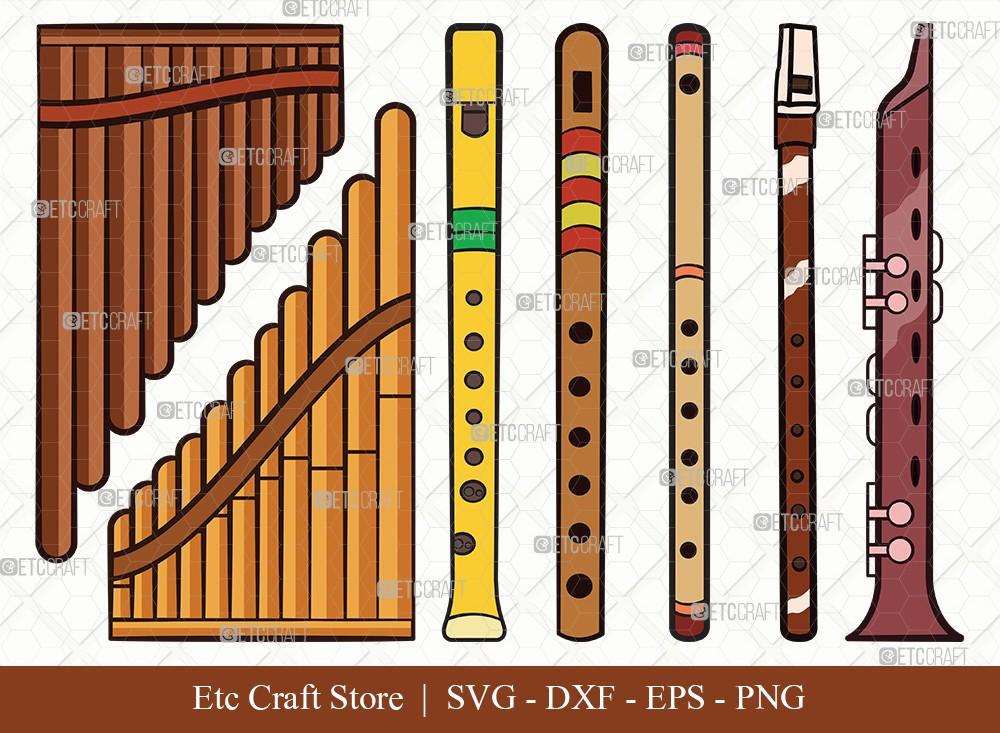 Flute Instrument Cilpart SVG Cut File