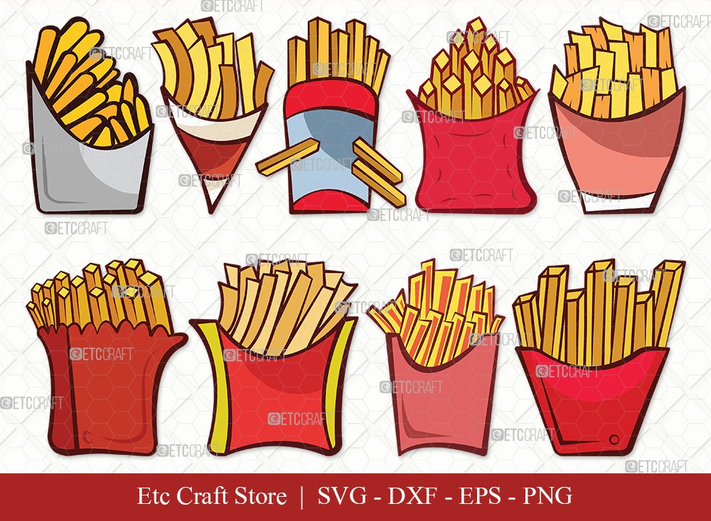 French Fries Clipart SVG Cut File | Fries Svg