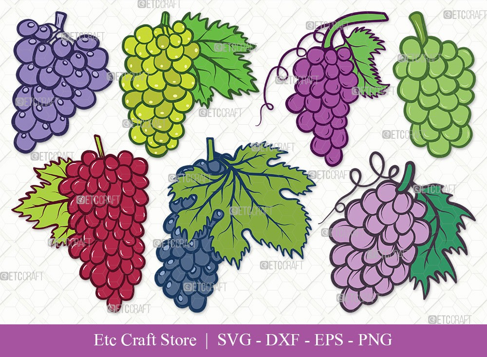 Grapes Clipart SVG Cut File | Grape Svg