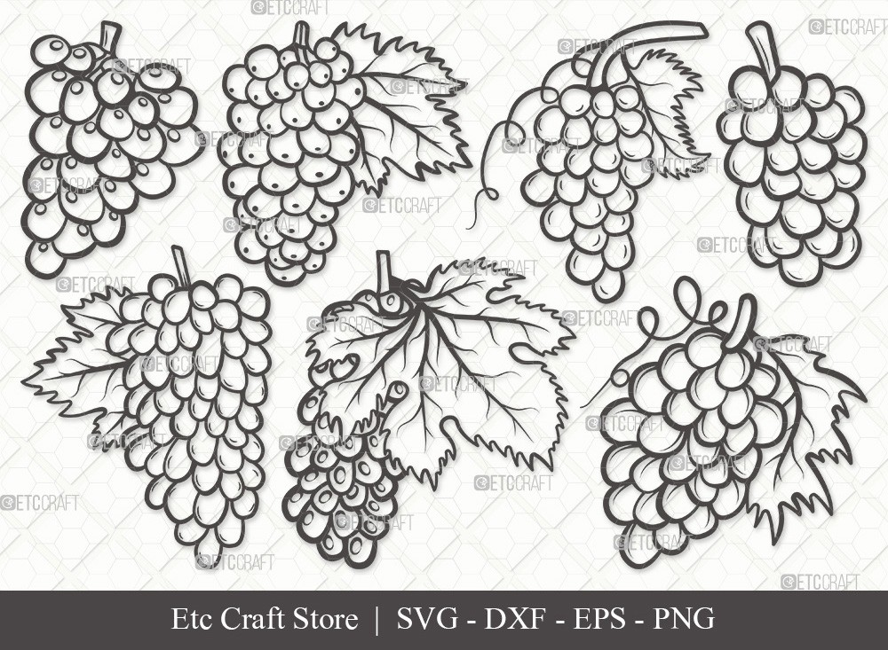 Grapes Outline SVG Cut File | Grape Svg