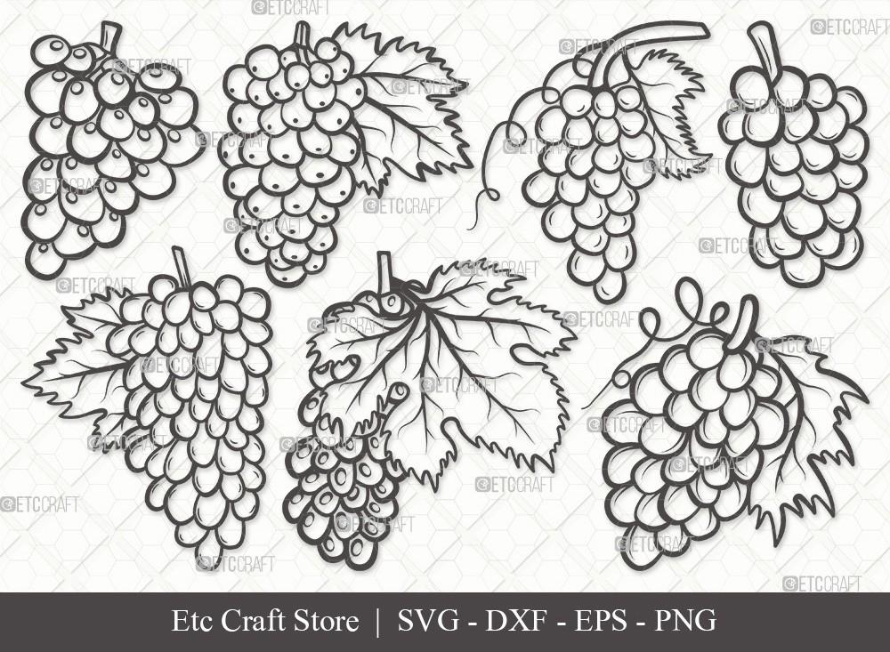 Grapes Outline SVG Cut File | Grape Svg