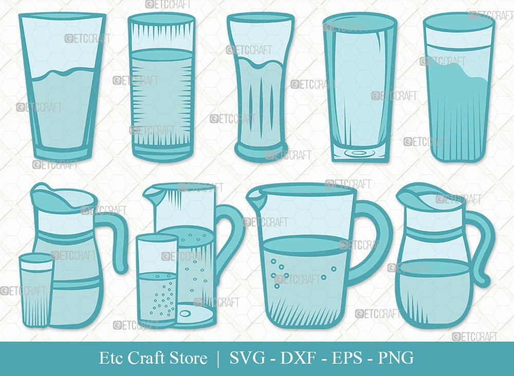 Jug With Glass Clipart SVG Cut File
